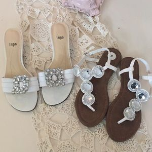 White rhinestone sandals!!